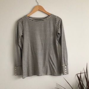 Grey & White Striped Long Sleeve Tee